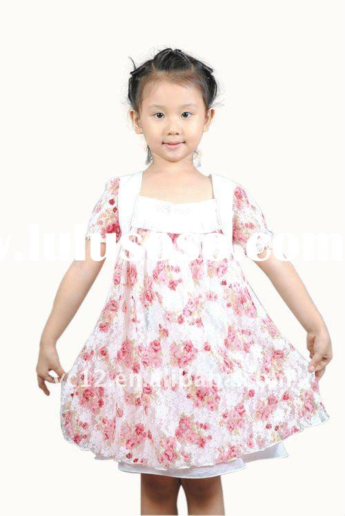 Stock: Hot Fashion Lovely Hot Sale Short Sleeve kids dancing dresses