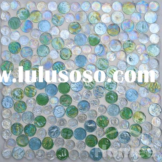 TI04 crystal round glass glossy mosaic tile