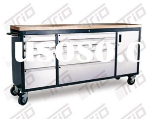 """TR-PSTCB-7210W 72"""" Powder Coated Steel Tool Chest with S/S430 Drawer Panel, Wood top"""