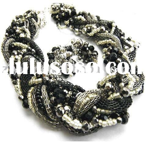TWISTED TWO TONE CHUNKY NECKLACE SET COSTUME JEWELRY