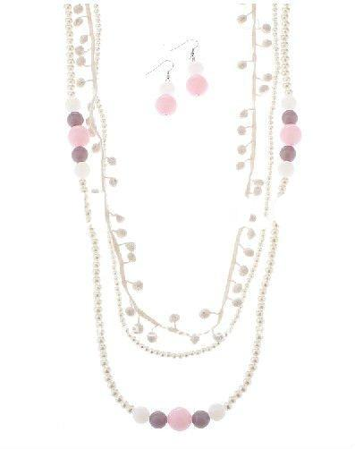 Thread ball and bead layered necklace & earring Jewelry