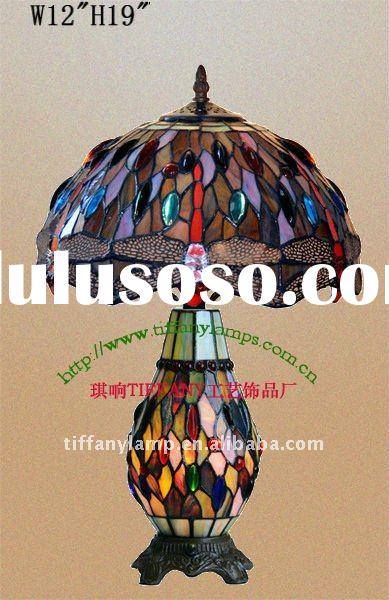 """Tiffany Styled Antique Blue Dragonfly Table Lamp 12"""""""