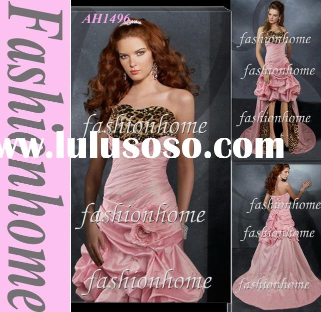 Top quality Pink taffeta lace up evening dress prom gown AH1496