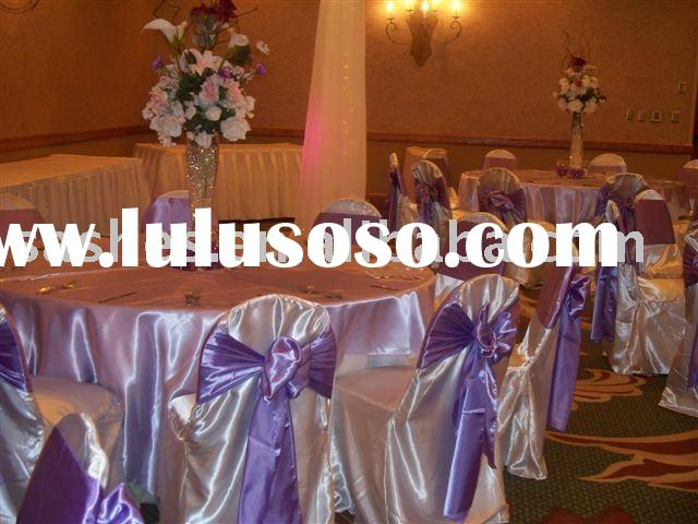 US hotel chair covers organza sashes tablecloth