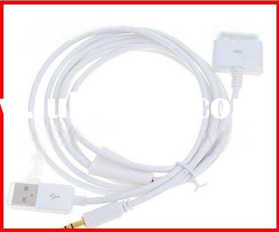White USB 3.5mm JACK Car AUX Audio/Charger/sync Connector for iPod, iPhone 2G/3G/3GS/4G (White)