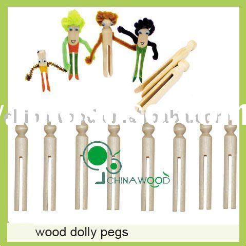 Wholesale 95mm length Birch Wooden Clothes Dolly Pegs