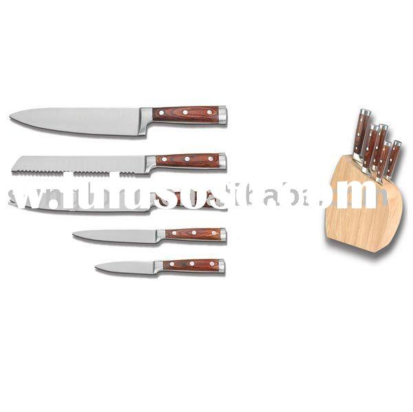 Wooden handle kitchen knife set for sale price china for Handle kitchen set