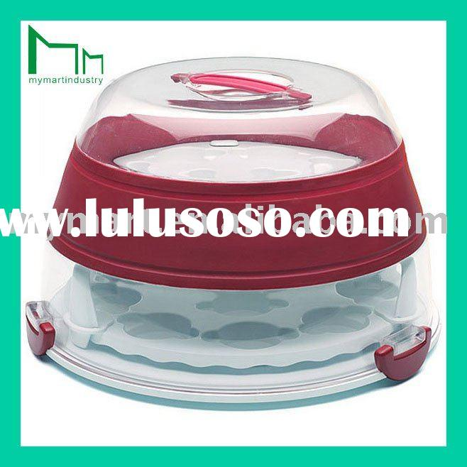 airtight round shape plastic cake box for cup