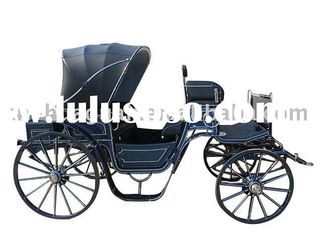 antique sightseeing horse carriage with awning