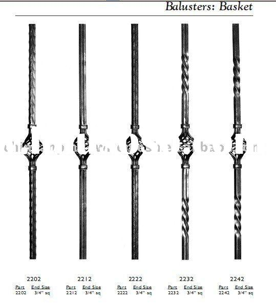 balusters, wrought iron fitting, forged iron balusters
