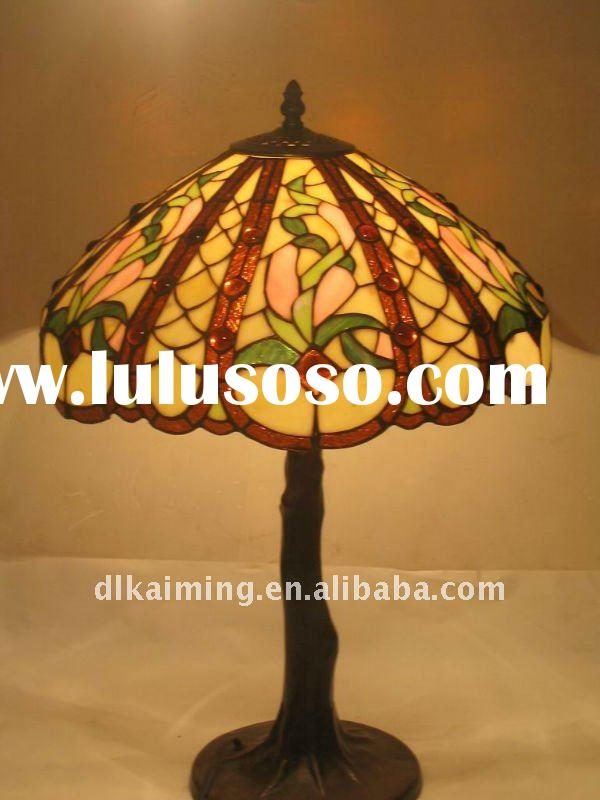 beautifl flower stained glass tiffany table lamp