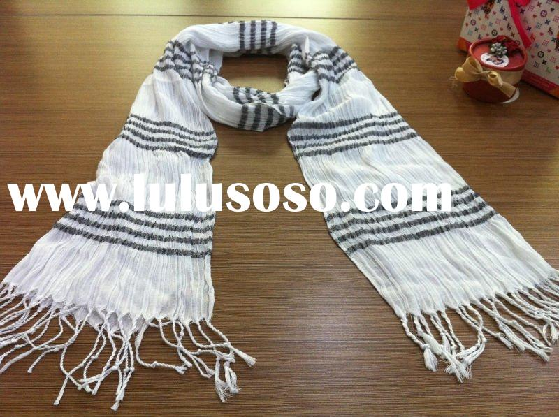 black stripes --viscose -- yarn dyed--scarf---hot!