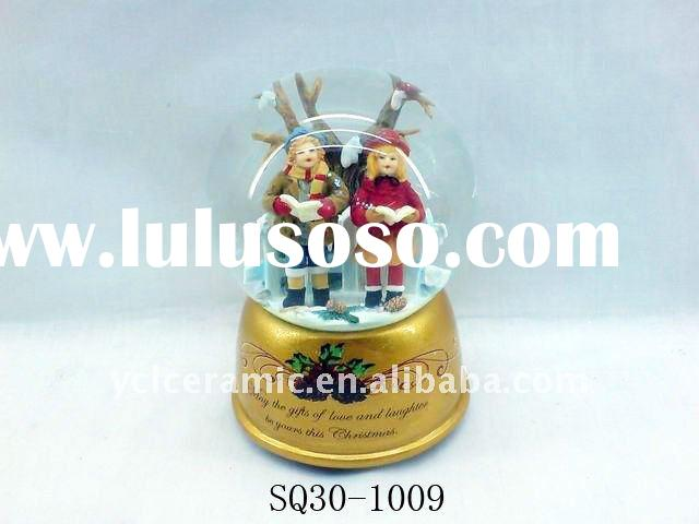 christmas glass ball with musical bell