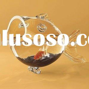 clear high quality glass fish shaped bowl