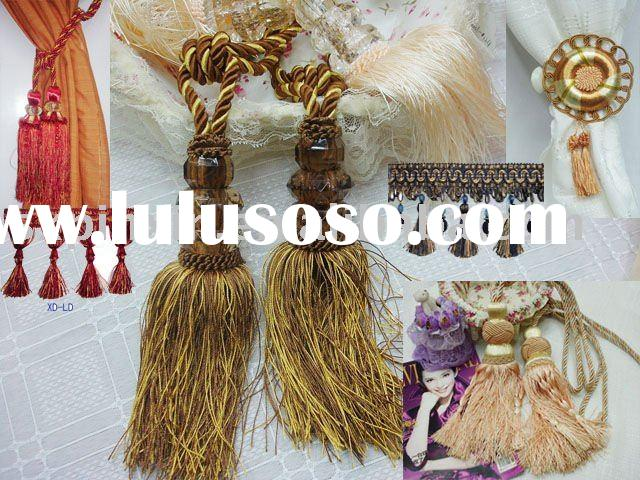 curtain accessories curtain tassel fringe(lace) with bead tassel cord Lechy brand
