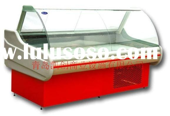 curved glass deli refrigerator display case with rear counter