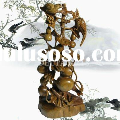 egg plant WOOD CARVING STATUE