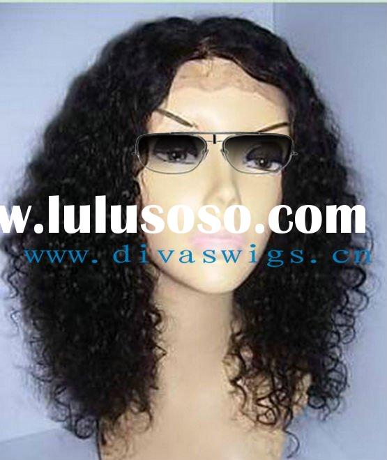 fashion black color jerry curl Indian remy hair wig