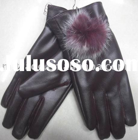 fashion ladies leather gloves with stone G0119