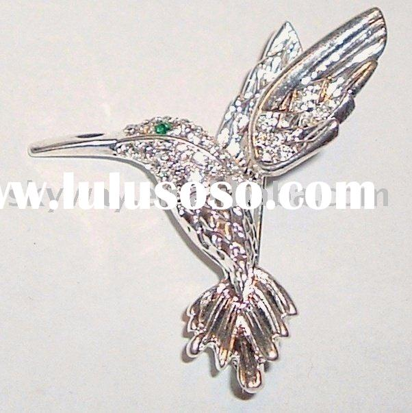 fashion new Australian Clear Austrian Crystal Hummingbird Pin Brooch Silvertone