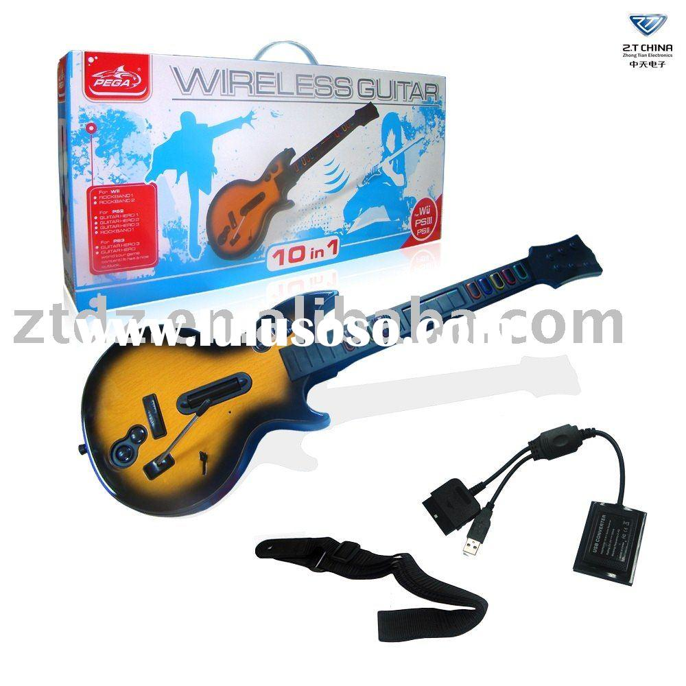 for Wii 10 in 1 wireless guitar for rock band PEGA brand