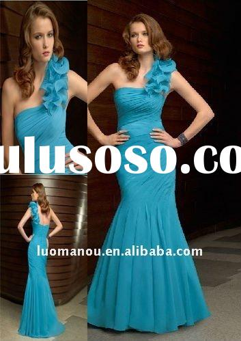 hot sell elegant one shoulder handmade formal evening dress MY123