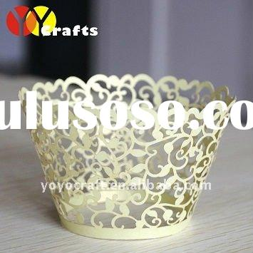 """hot selling wedding party supplies cake decoration """"flower branch"""" filigree cupcake wrappe"""