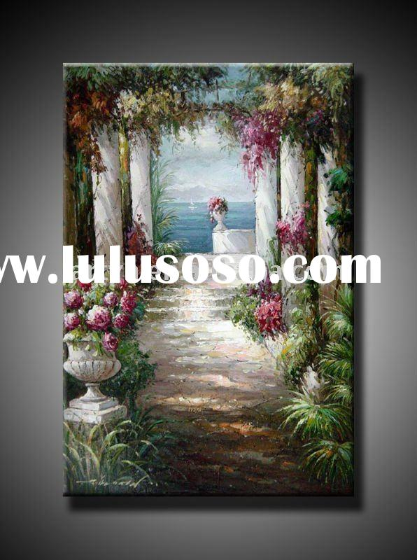 impressionist garden landscape oil painting on canvas