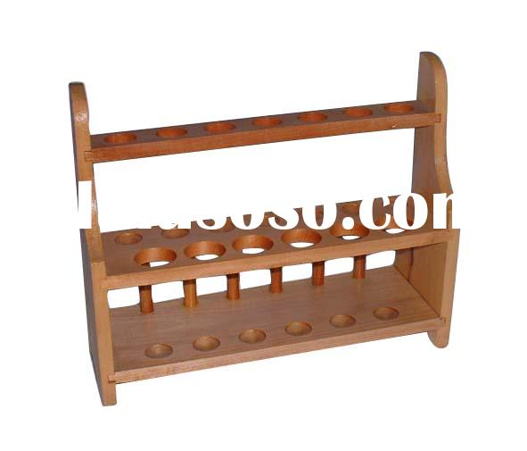 laboratory equipment, chemistry, wooden test tube rack