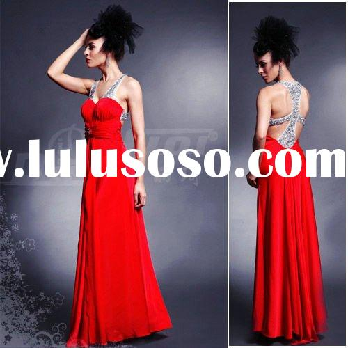 lady red dress fashion formal dress D30148 long style floor length A-line straps sequins wedding dre