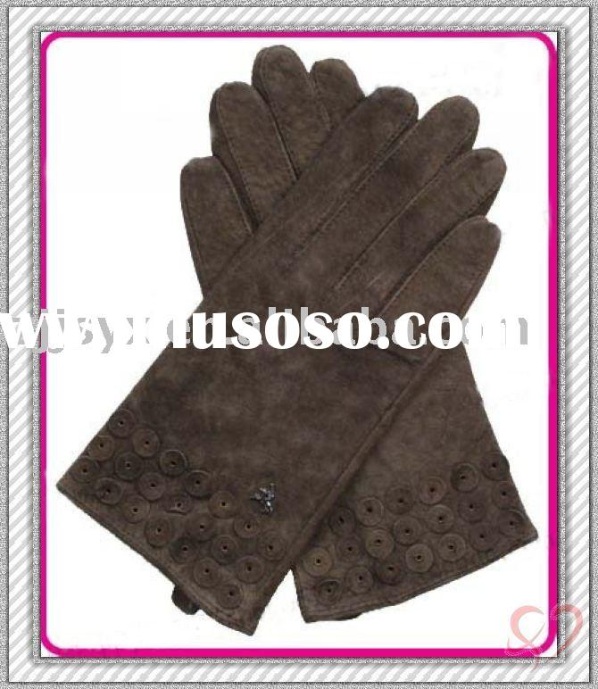 lady's chic pig suede leather dress gloves