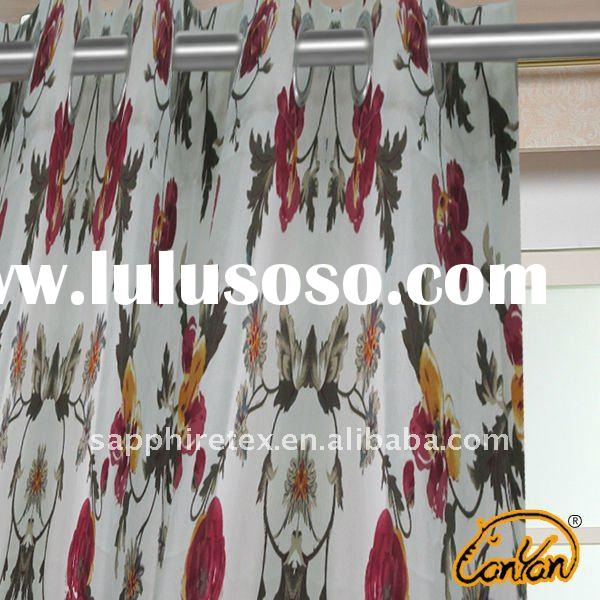latest modern style fashion floral printed curtain design for living room