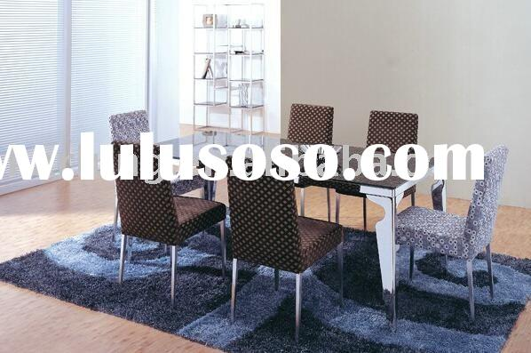 modern dinner table with tempered glass and SUS frame