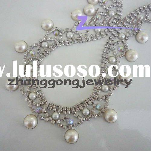 pearl beaded lace crystal trim for garment