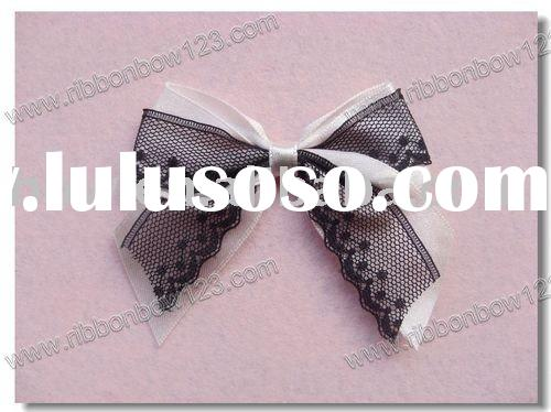 pink satin ribbon and black lace dress bow