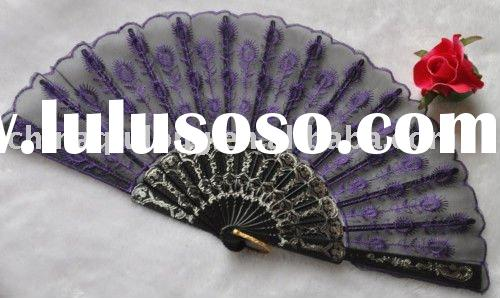 purple Embroidered Cloth Folding Hand Fan