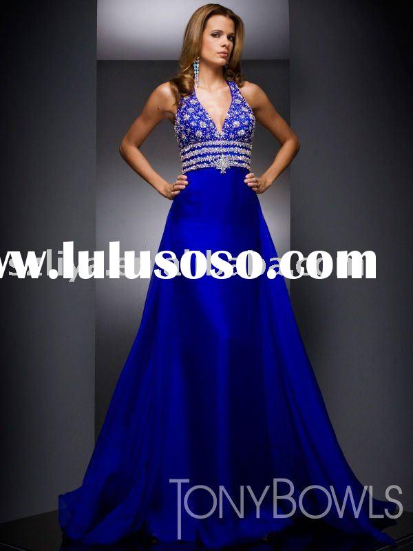 royal blue halter rhinestones diamond belt evening dresses wlf176