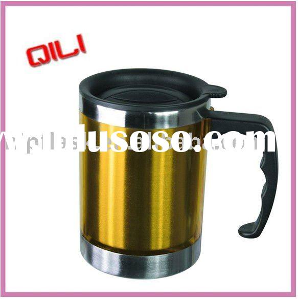 stainless steel beer coffee plunger mug with handpaint and lid