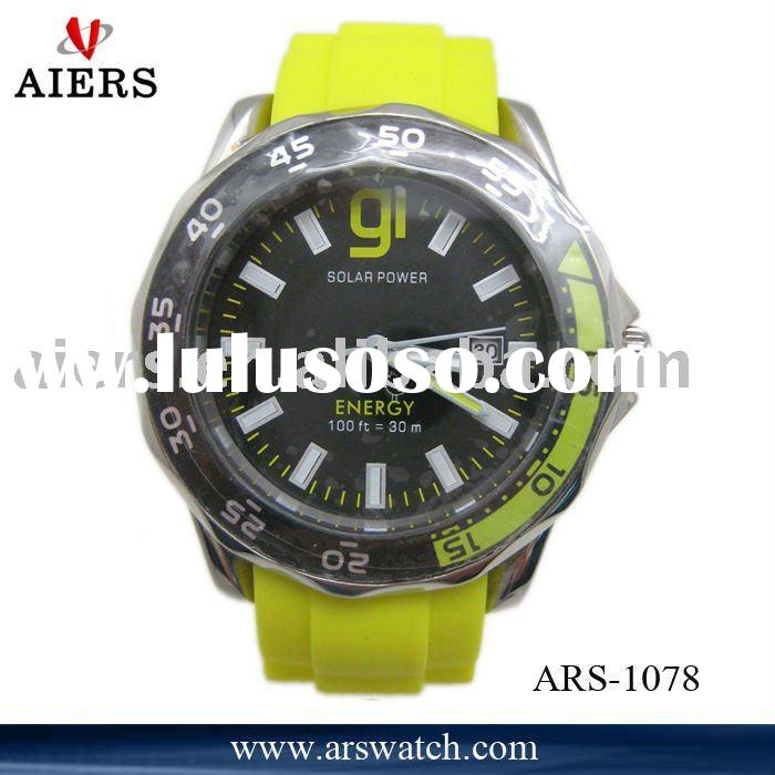 stainless steel rubberized band fashion watch