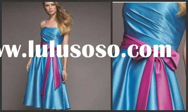 the latest ribbons simple and easy ruffle women's wear prom dress lyd002
