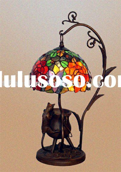 tiffany lamp- STAINED GLASS SHADE WITH METAL BASE