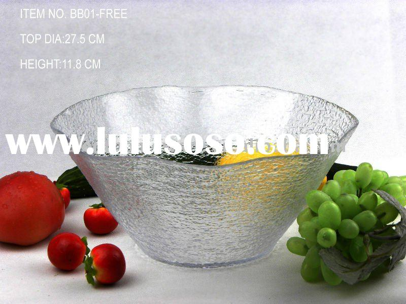transparent clear hand made free shape glass salad and fruit serving bowl set