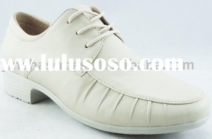 women genuine leather formal shoes with lace up and pleats