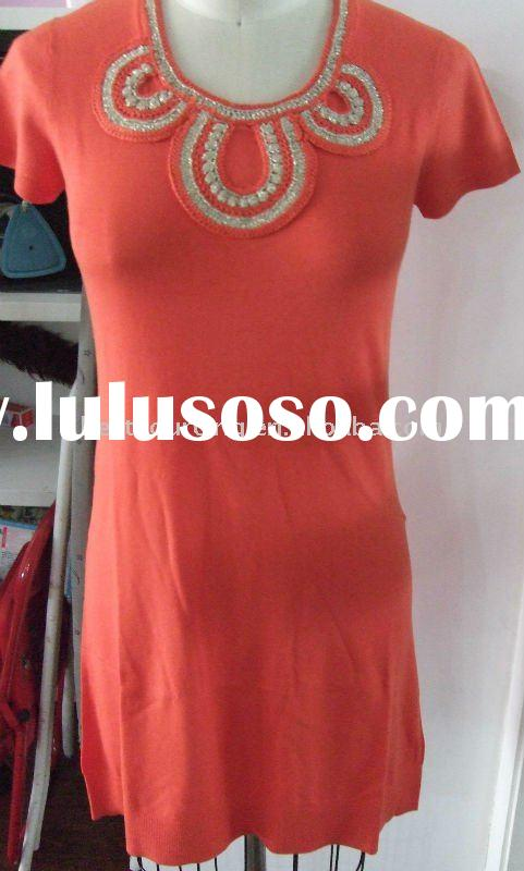 women's spring tunic cotton silk cashmere 12gg knitted short sleeve lady knitted dress sweat
