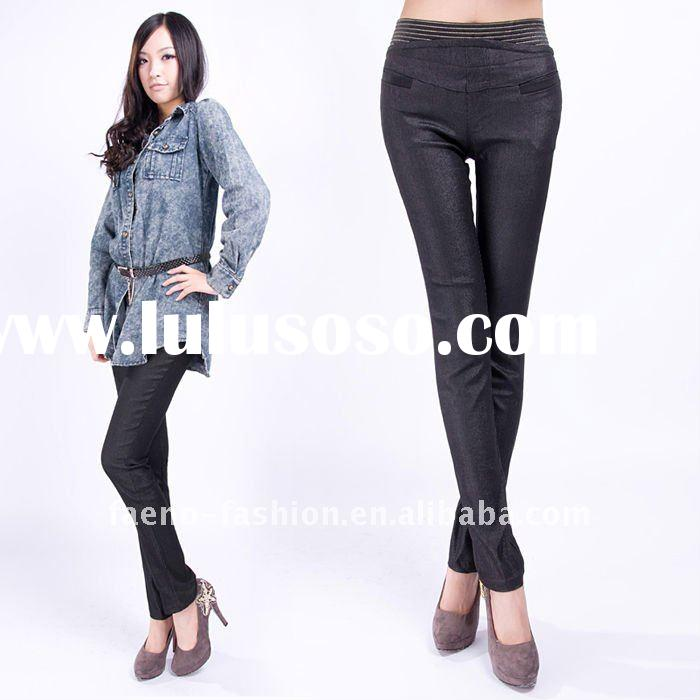 womens skinny pants; ladies elastic waist trousers