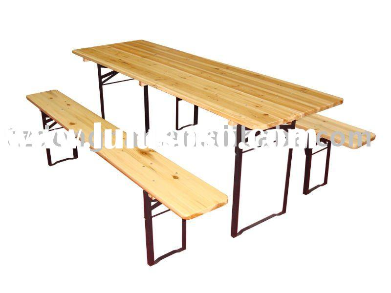 wooden folding long beer outdoor garden table set DN-WT-09