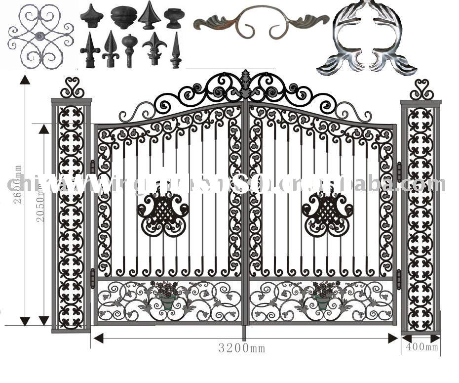 Cast iron fence components decorative works