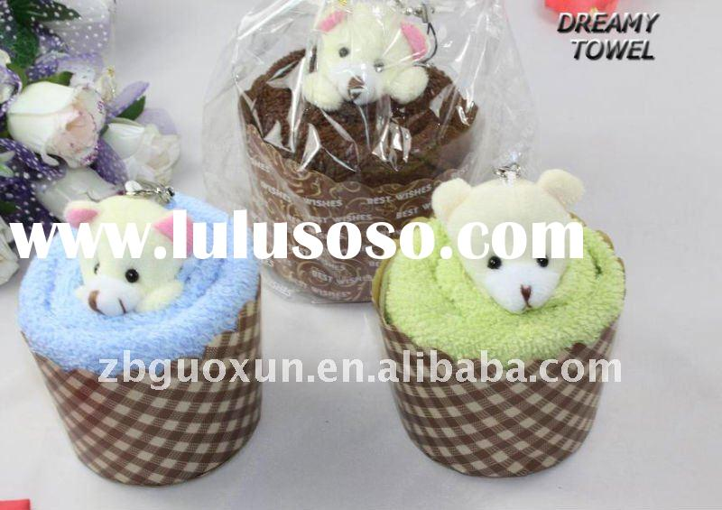 100% cotton cake towel for promotional