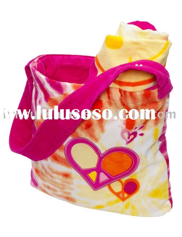 100% cotton reactive printed velour beach towel bag