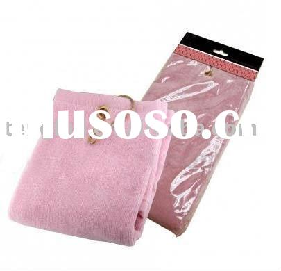 100% cotton terry velour golf towel(pink color)